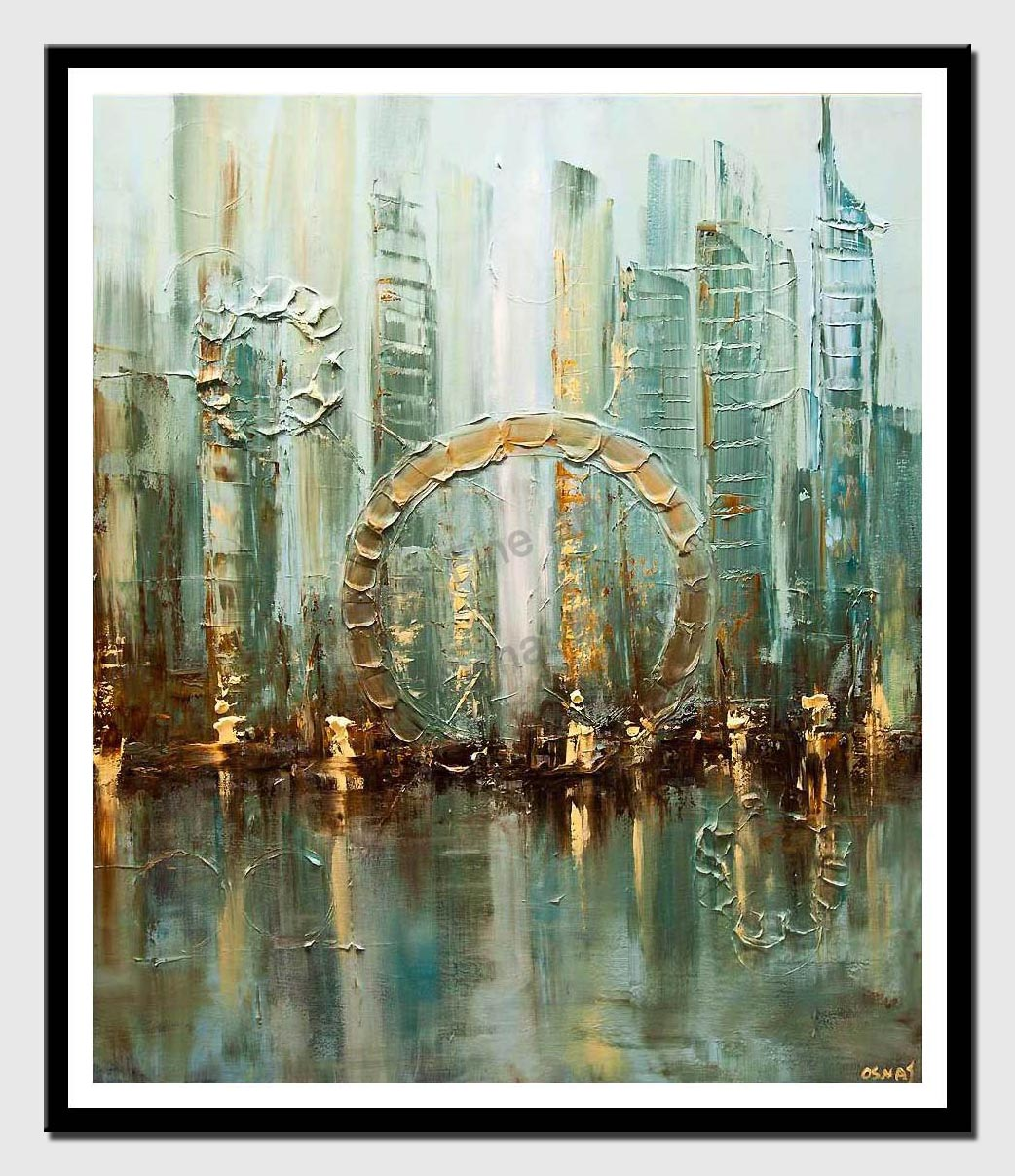 canvas print of original abstract city modern palette knife