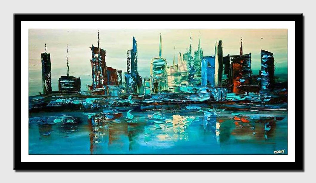 canvas print of contemporary abstract city modern palette knife painting