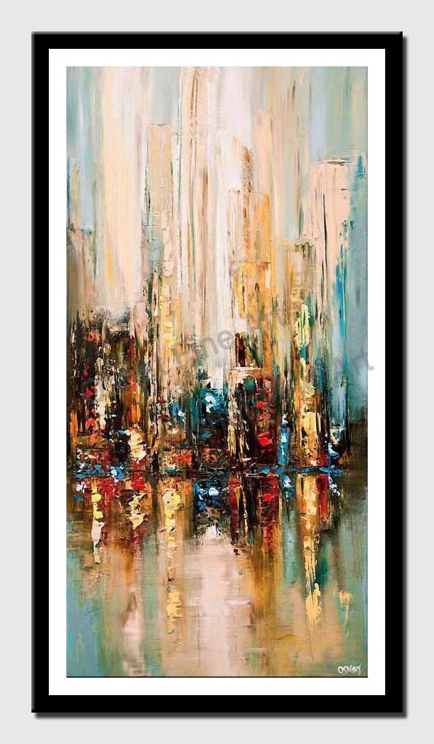 canvas print of modern palette knife abstract city painting wall hanging