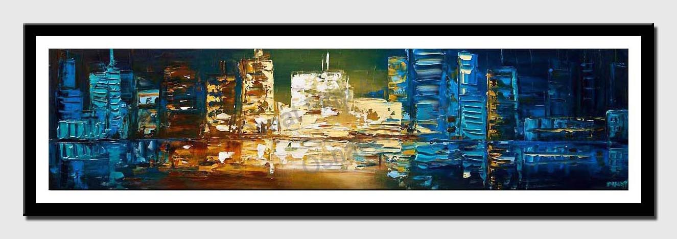 canvas print of modern palette knife blue city abstract painting
