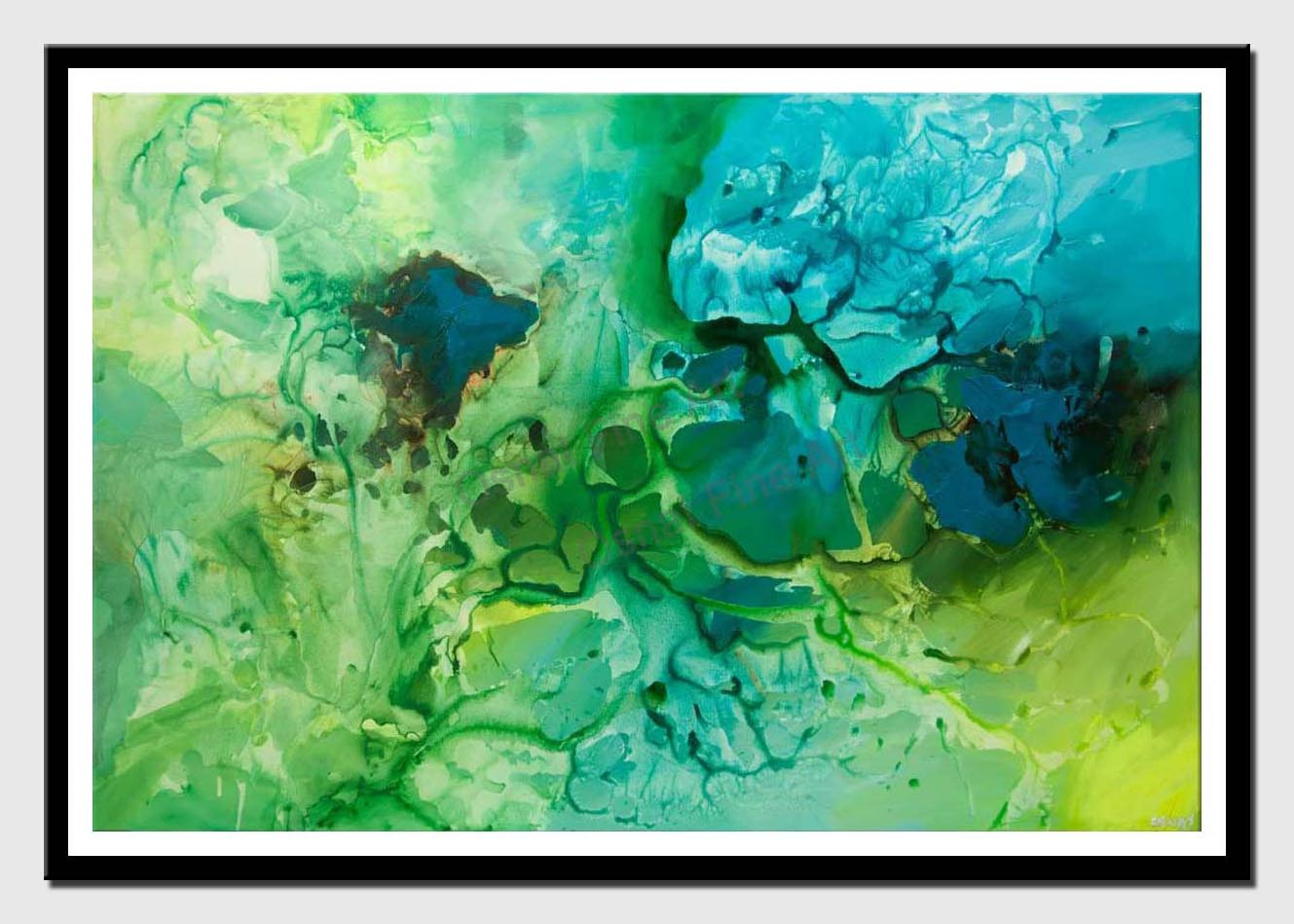 canvas print of big contemporary green blue teal abstract art