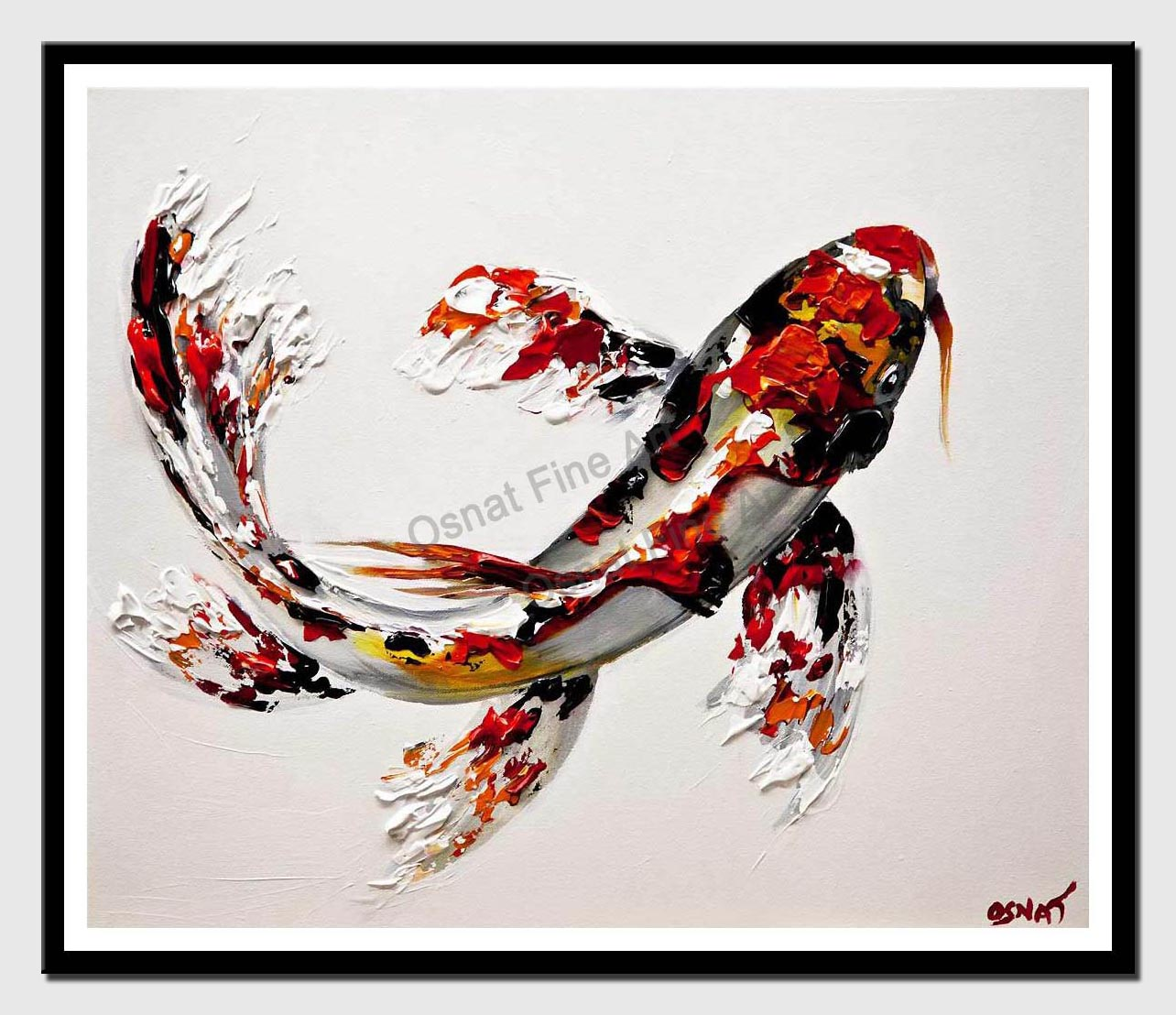 canvas print of koi fish painting textured