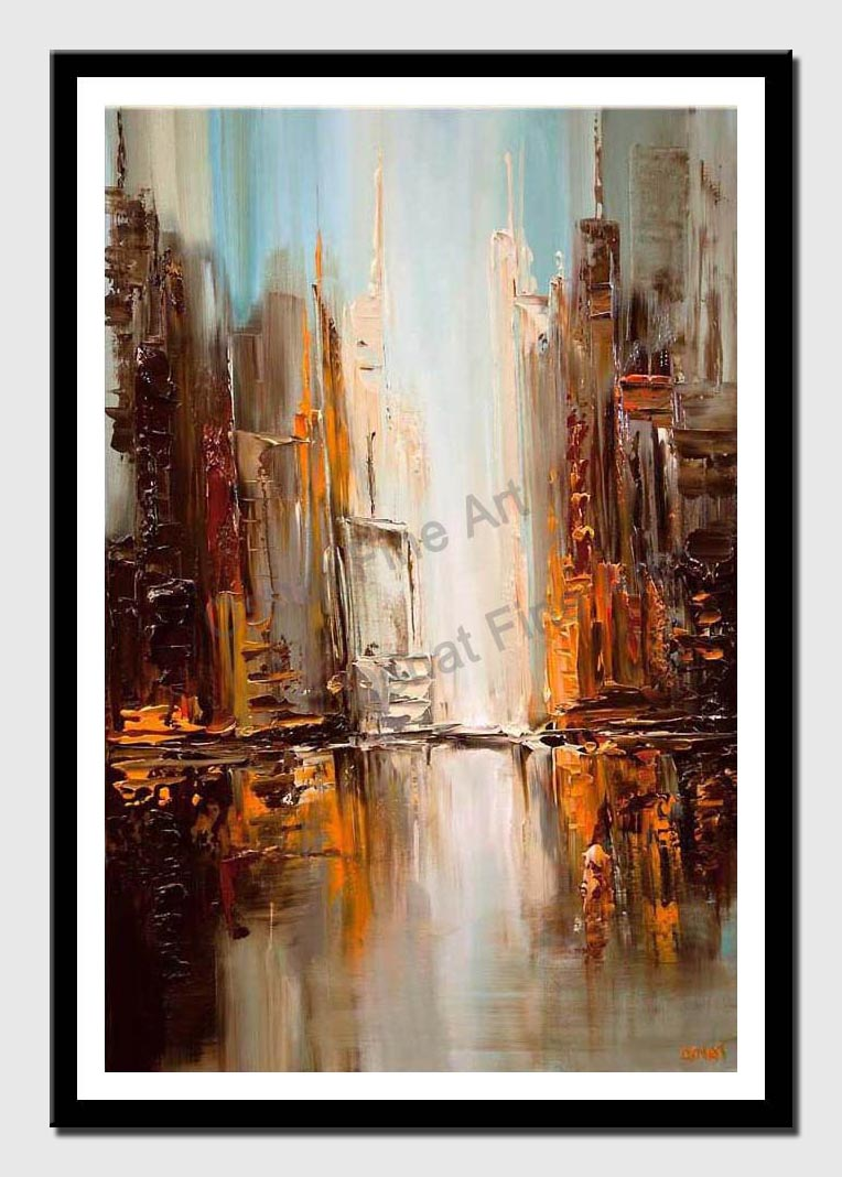 canvas print of modern downtown painting textured abstract city painting