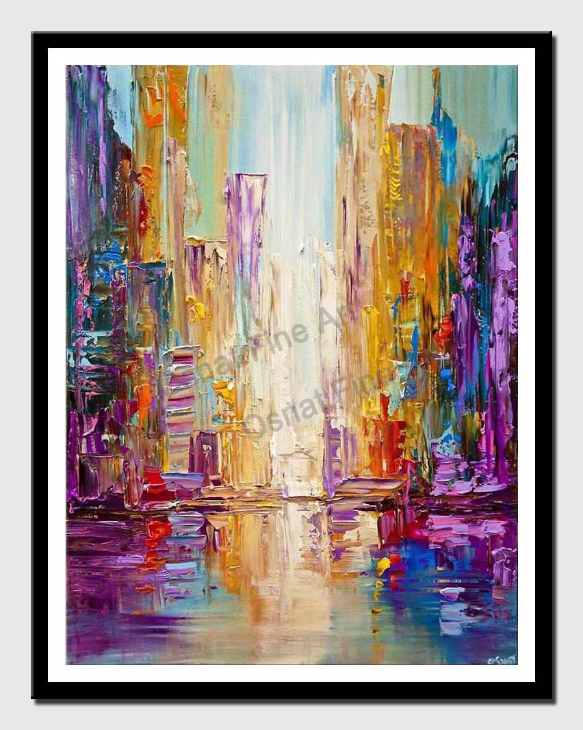 canvas print of Bangkok city painting colorful texture modern city painting