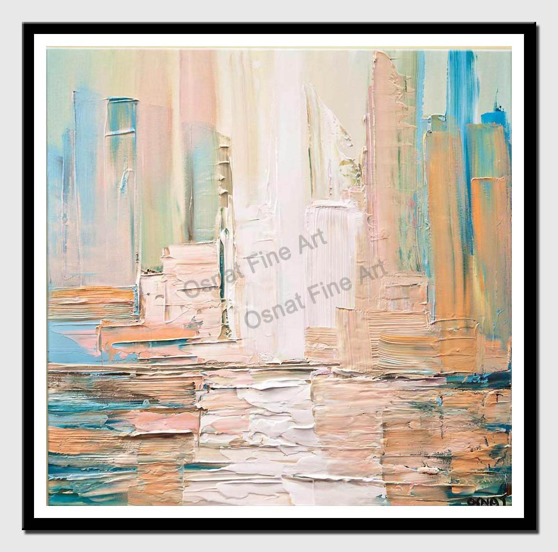 canvas print of city skyline painting modern palette knife