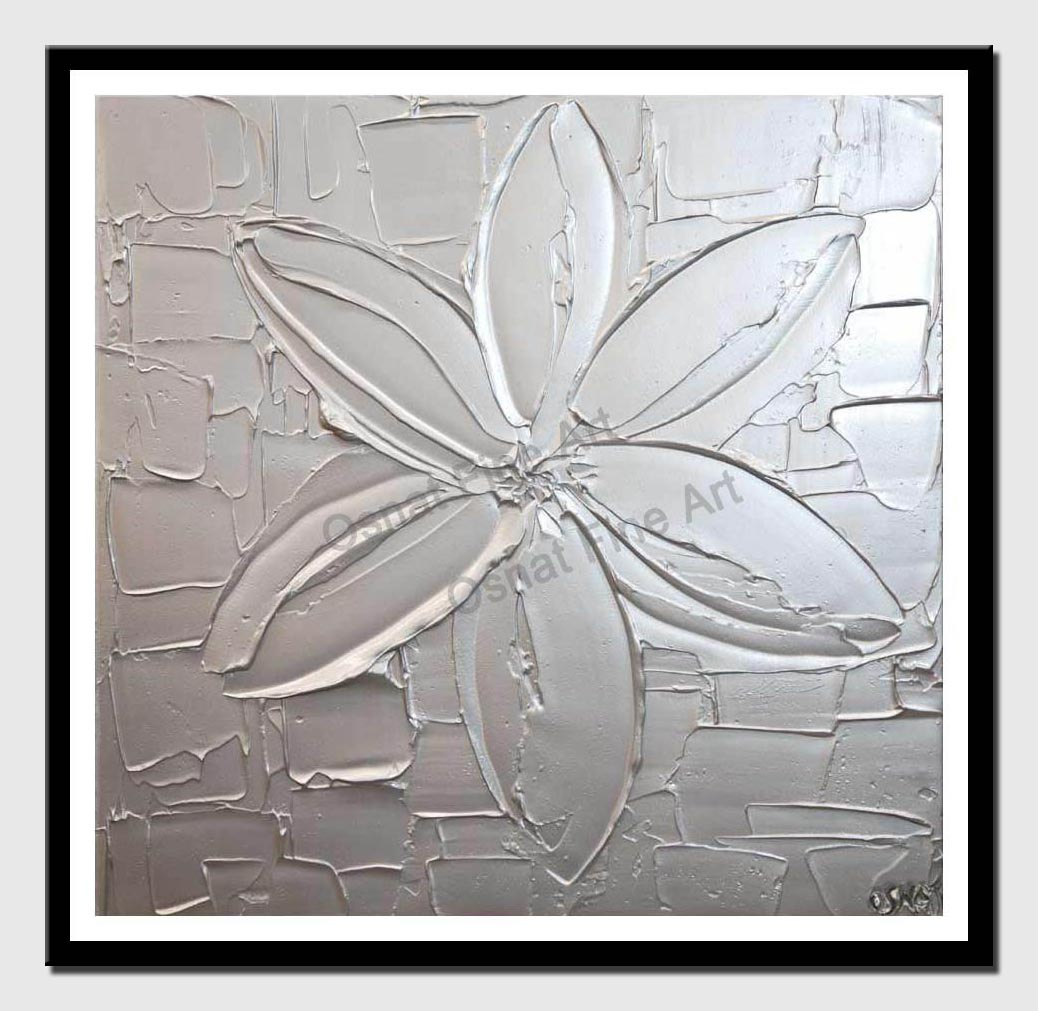 canvas print of textured silver abstract painting