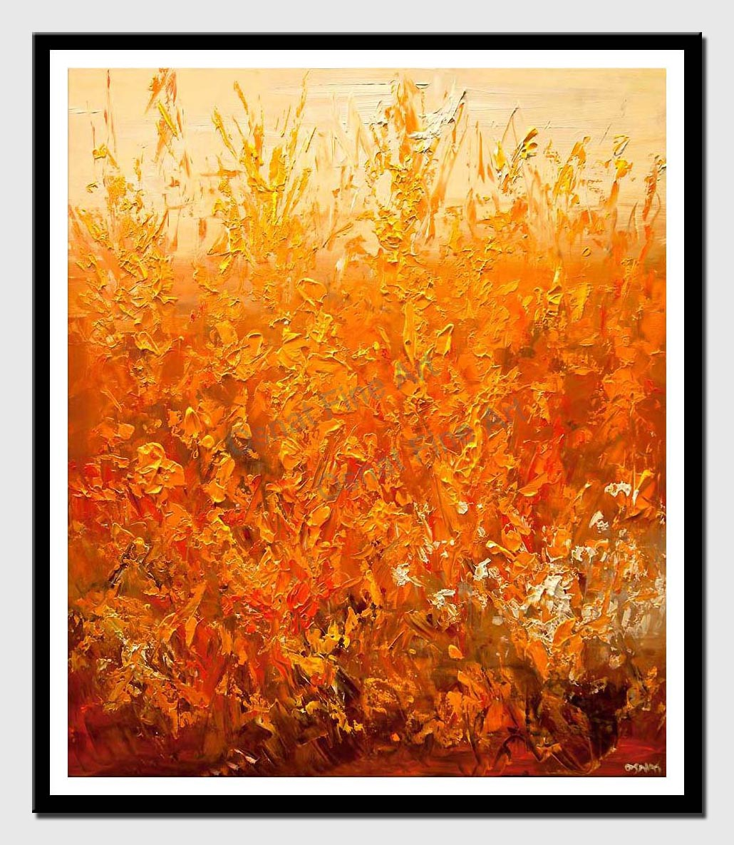 canvas print of orange cream floral abstract painting modern palette knife