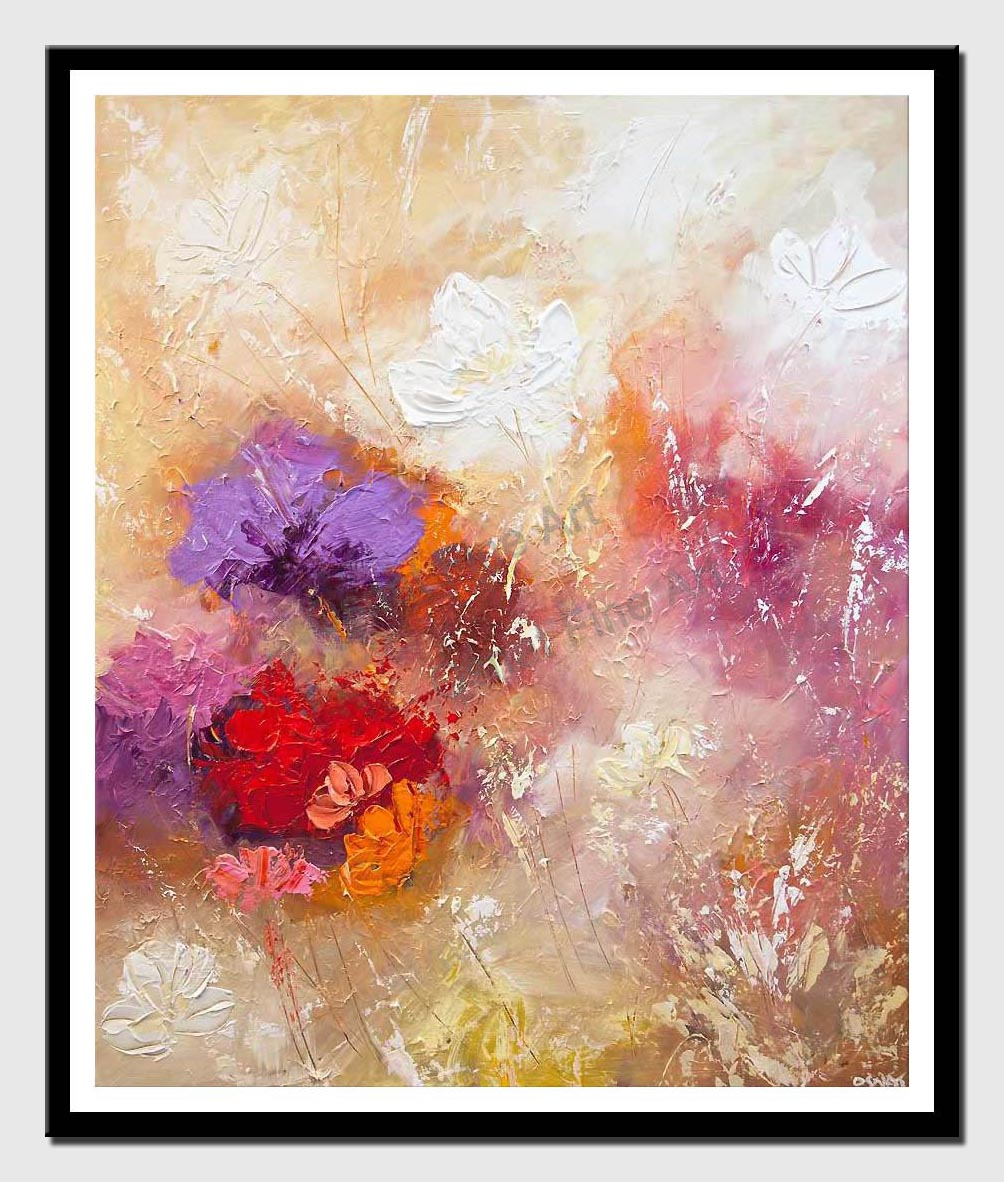 canvas print of modern floral painting textured palette knife abstract art