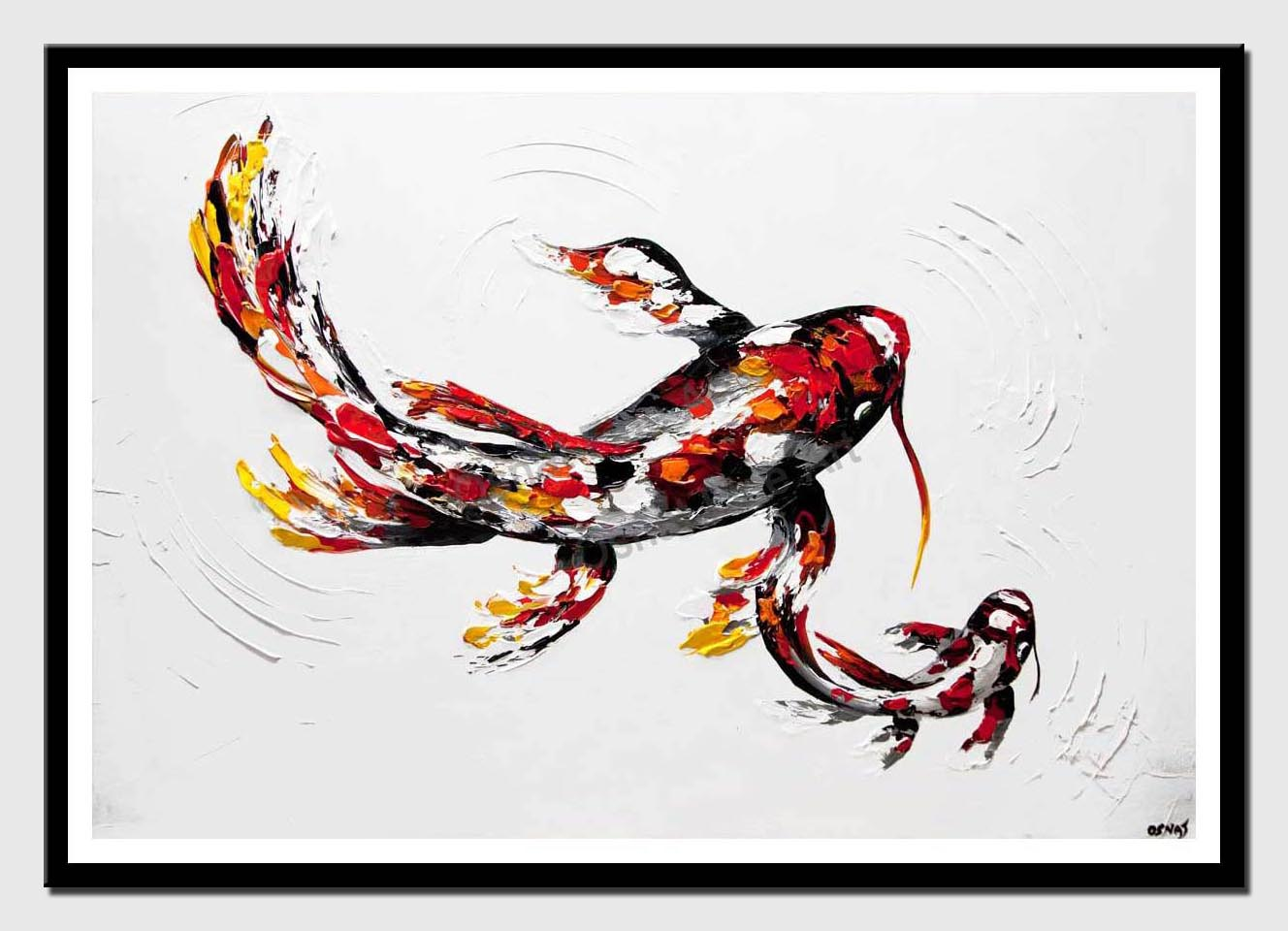 canvas print of red koi fish painting large koi fish art