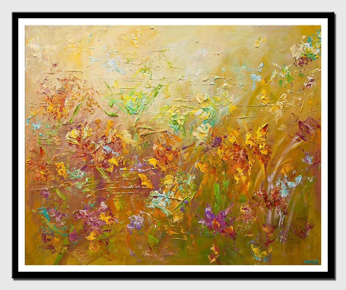 canvas print of modern abstract flowers painting contemporary colorful palette knife painting
