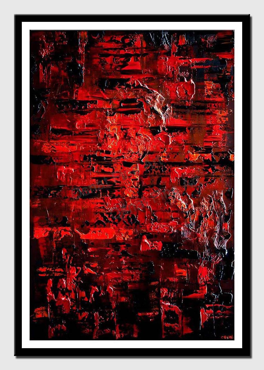 canvas print of red black textured abstract art