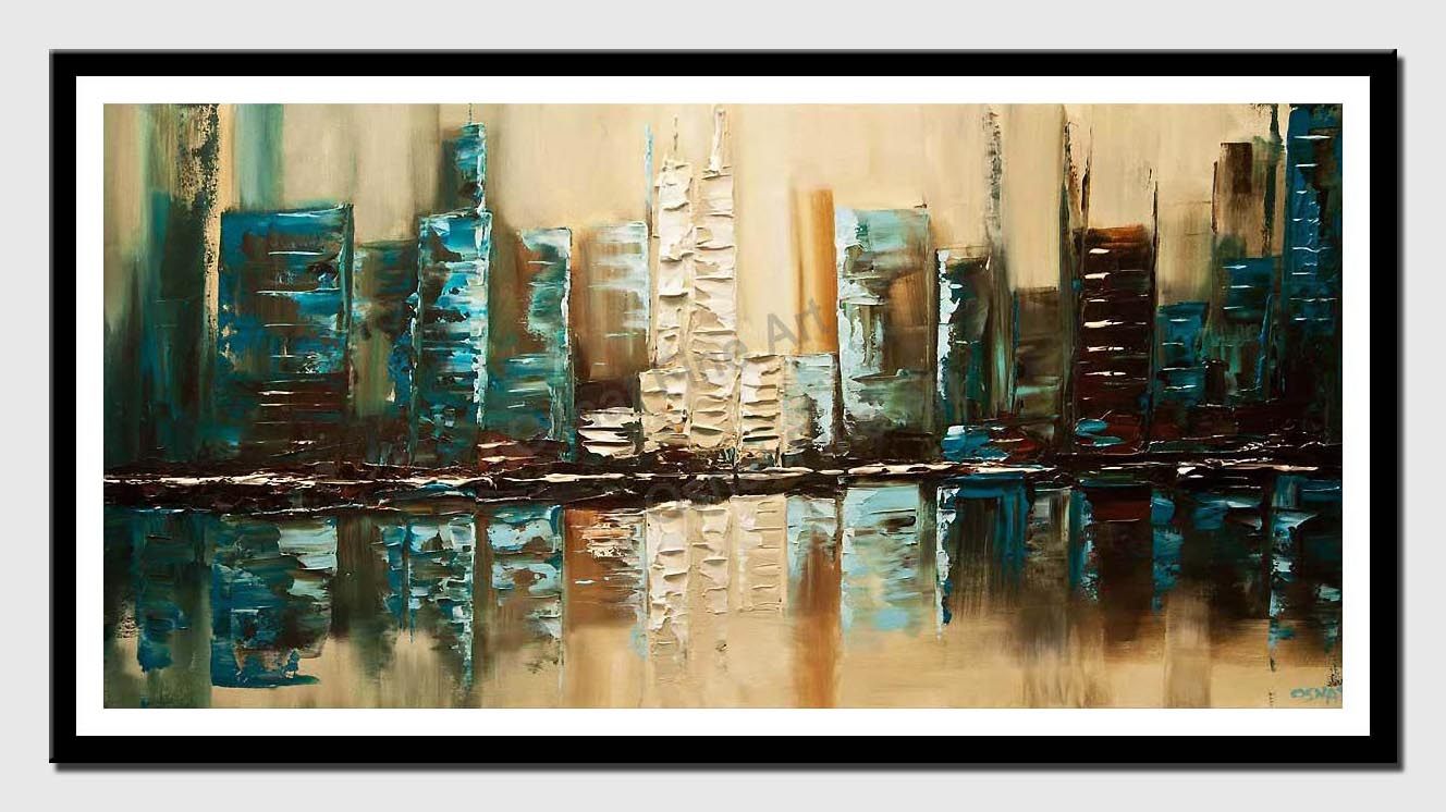 canvas print of modern textured teal abstract city painting