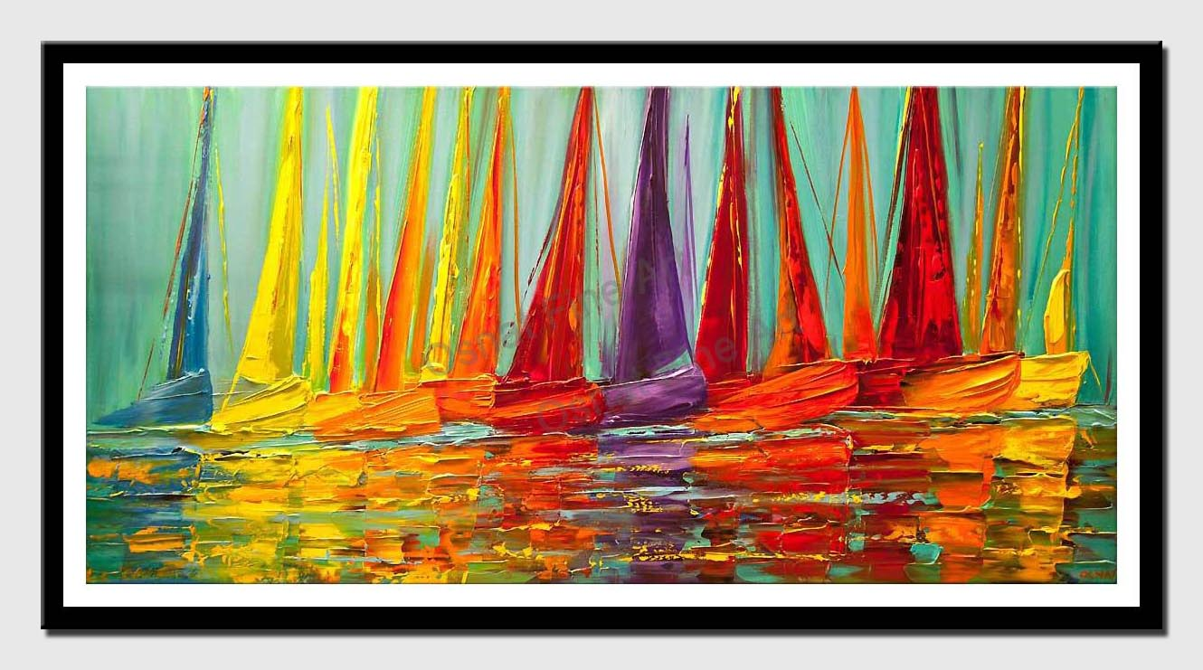 canvas print of large colorful modern sailboats textured painting