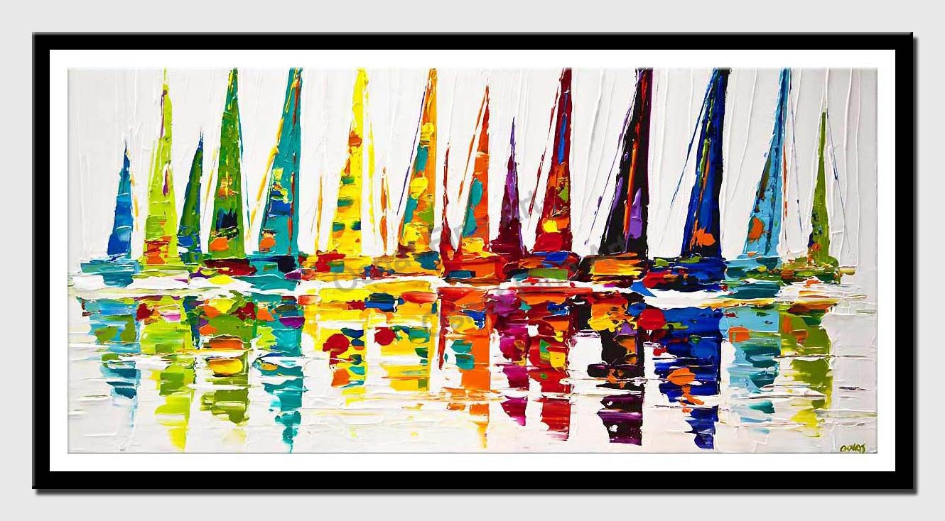canvas print of colorful sailboats painting