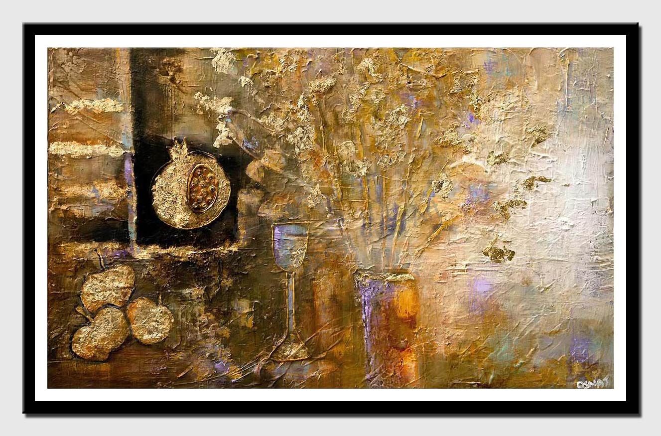 canvas print of textured abstract art pomegranate