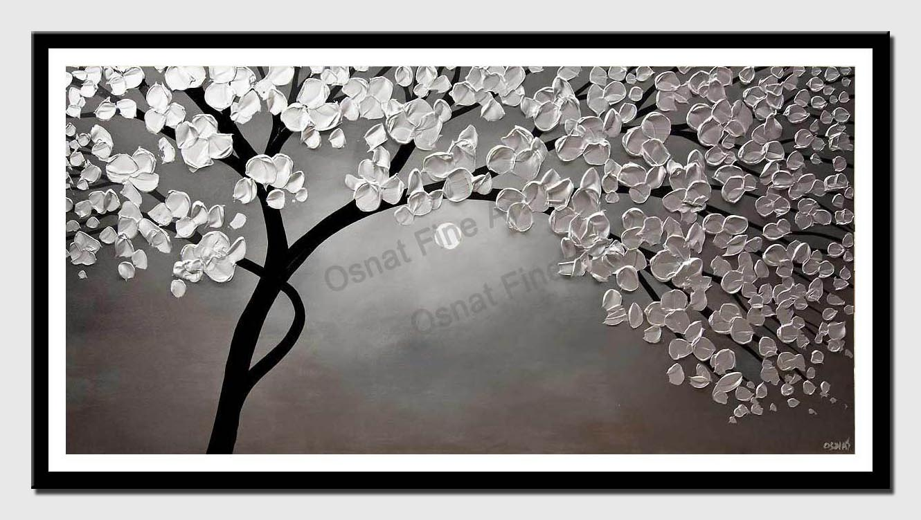 canvas print of silver blooming tree painting
