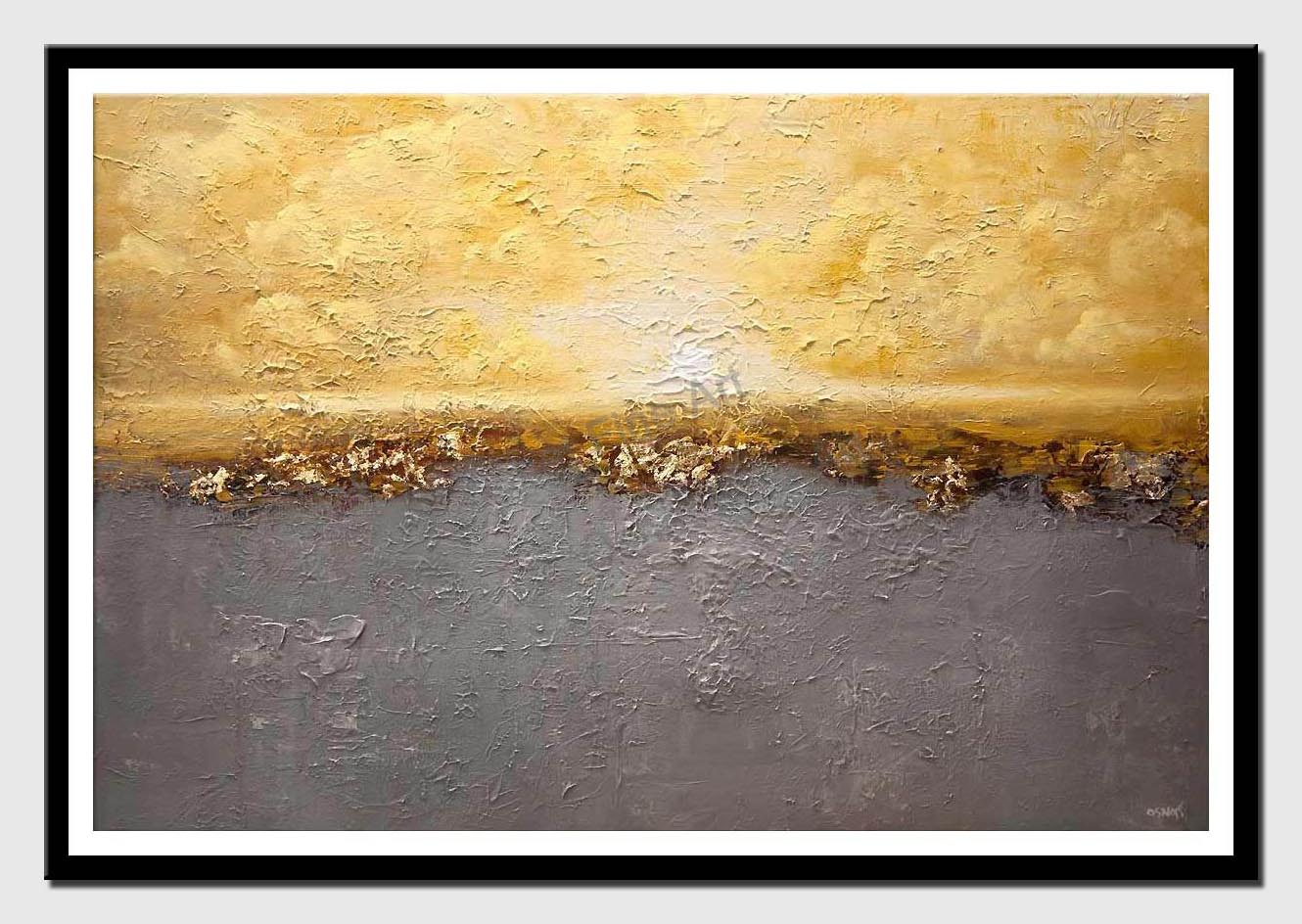 canvas print of textured yellow gray modern landscape abstract painting