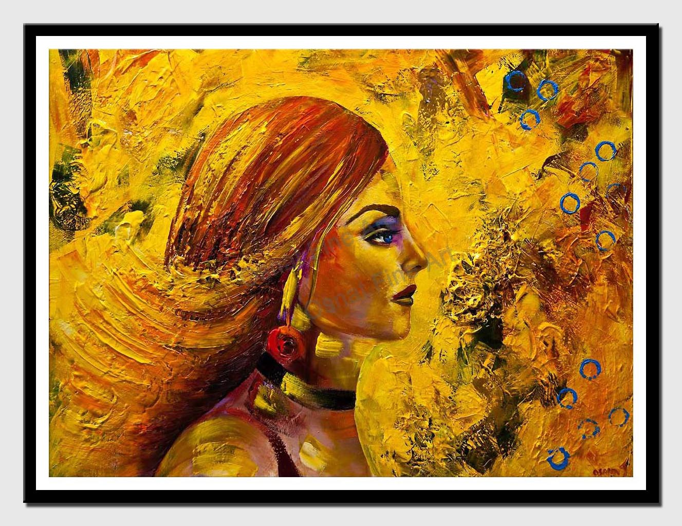 canvas print of modern yellow portrait woman abstract painting