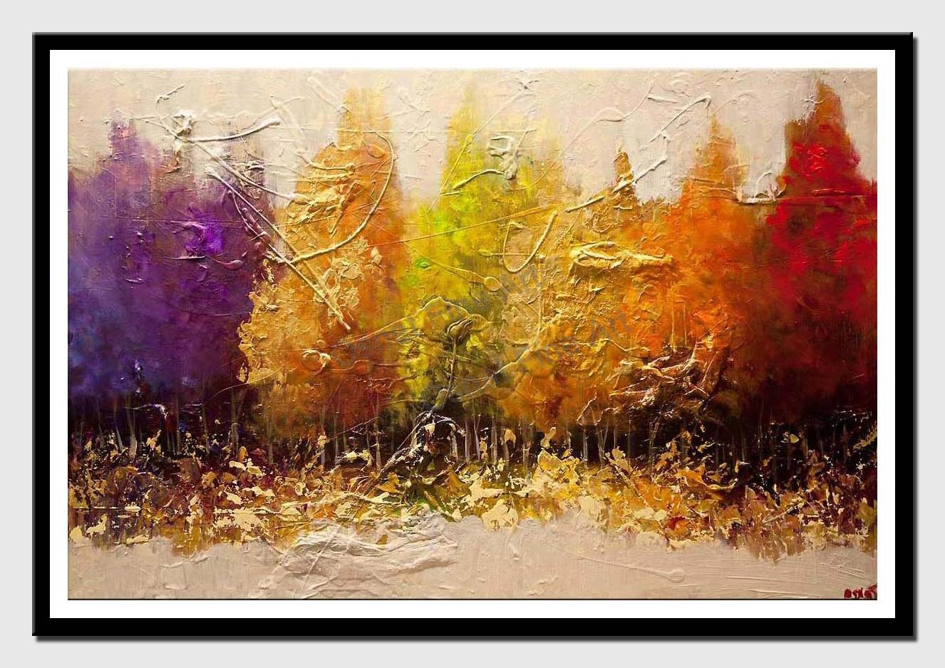 canvas print of modern seasonal painting textured landscape art