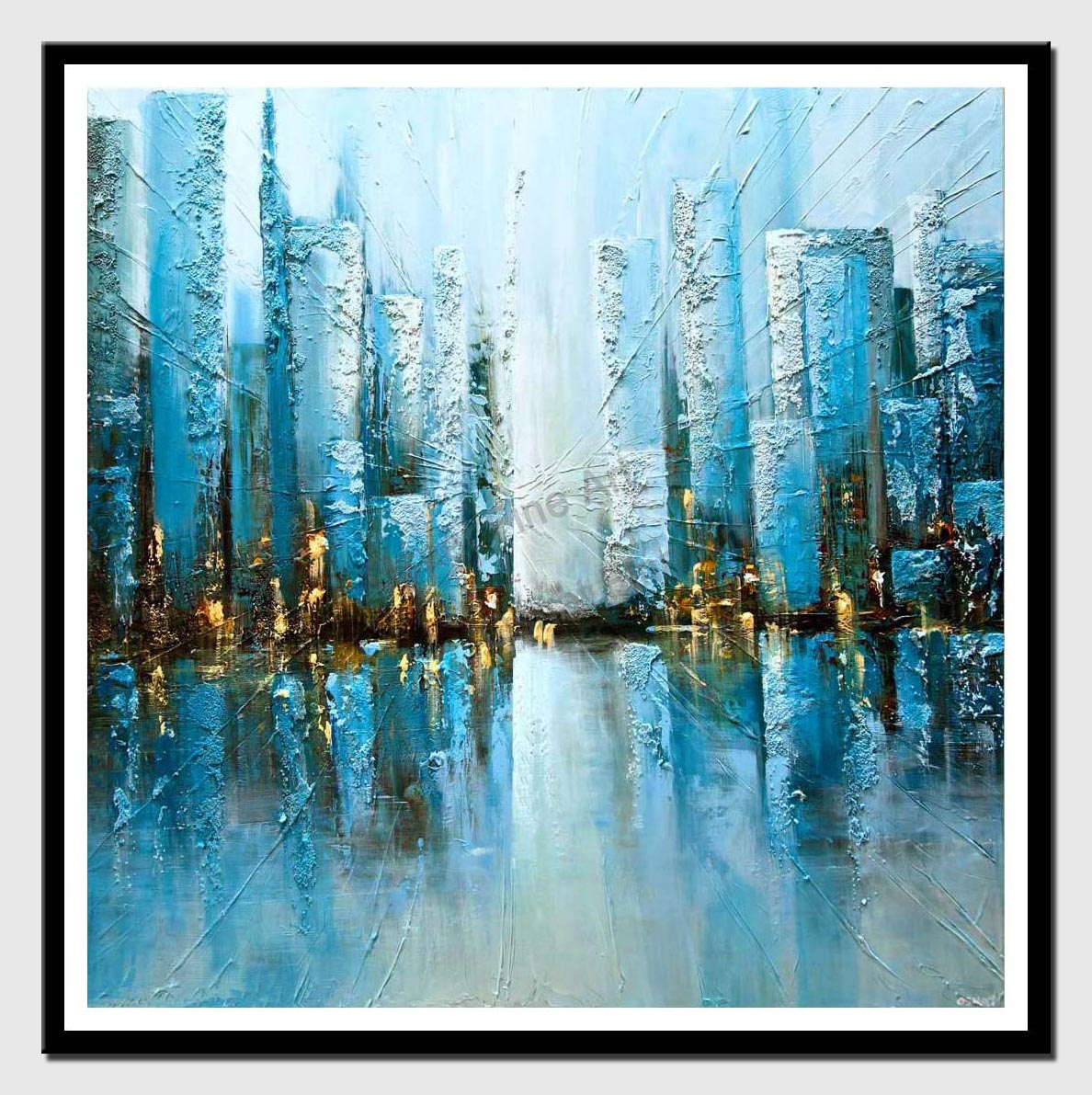 canvas print of blue textured abstract city painting