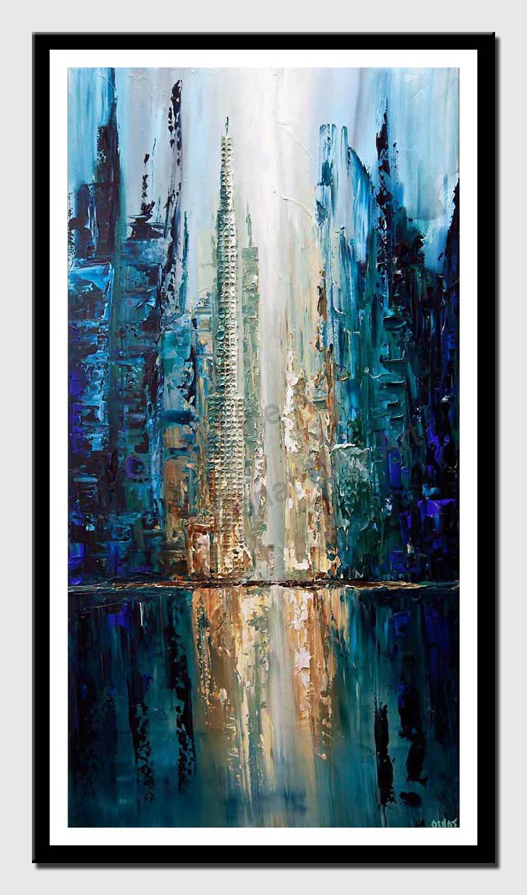 canvas print of contemporary blue textured city painting