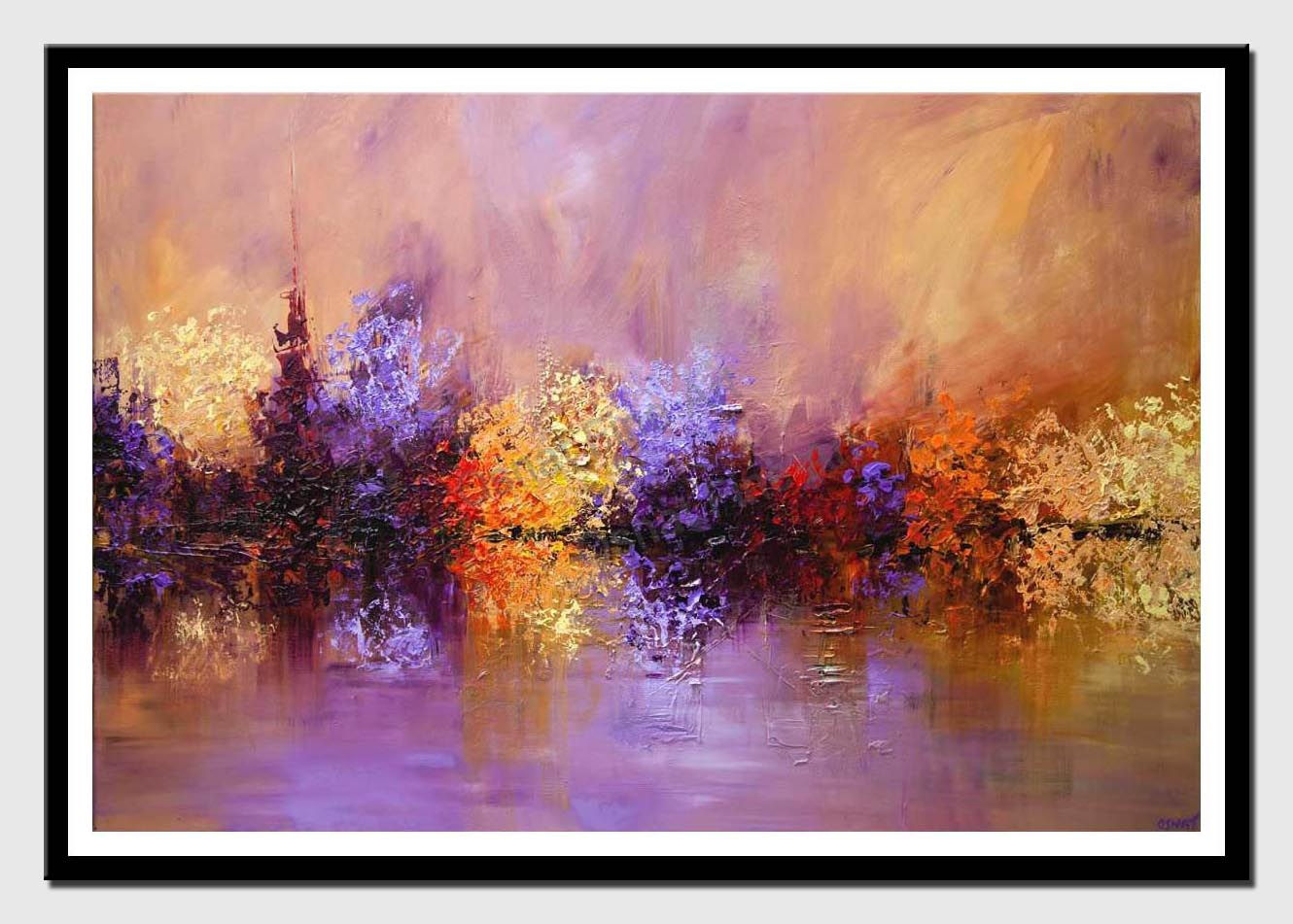 canvas print of large modern textured landscape painting lavender blooming trees