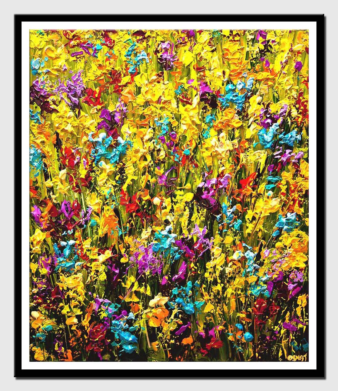 canvas print of modern palette knife floral painting