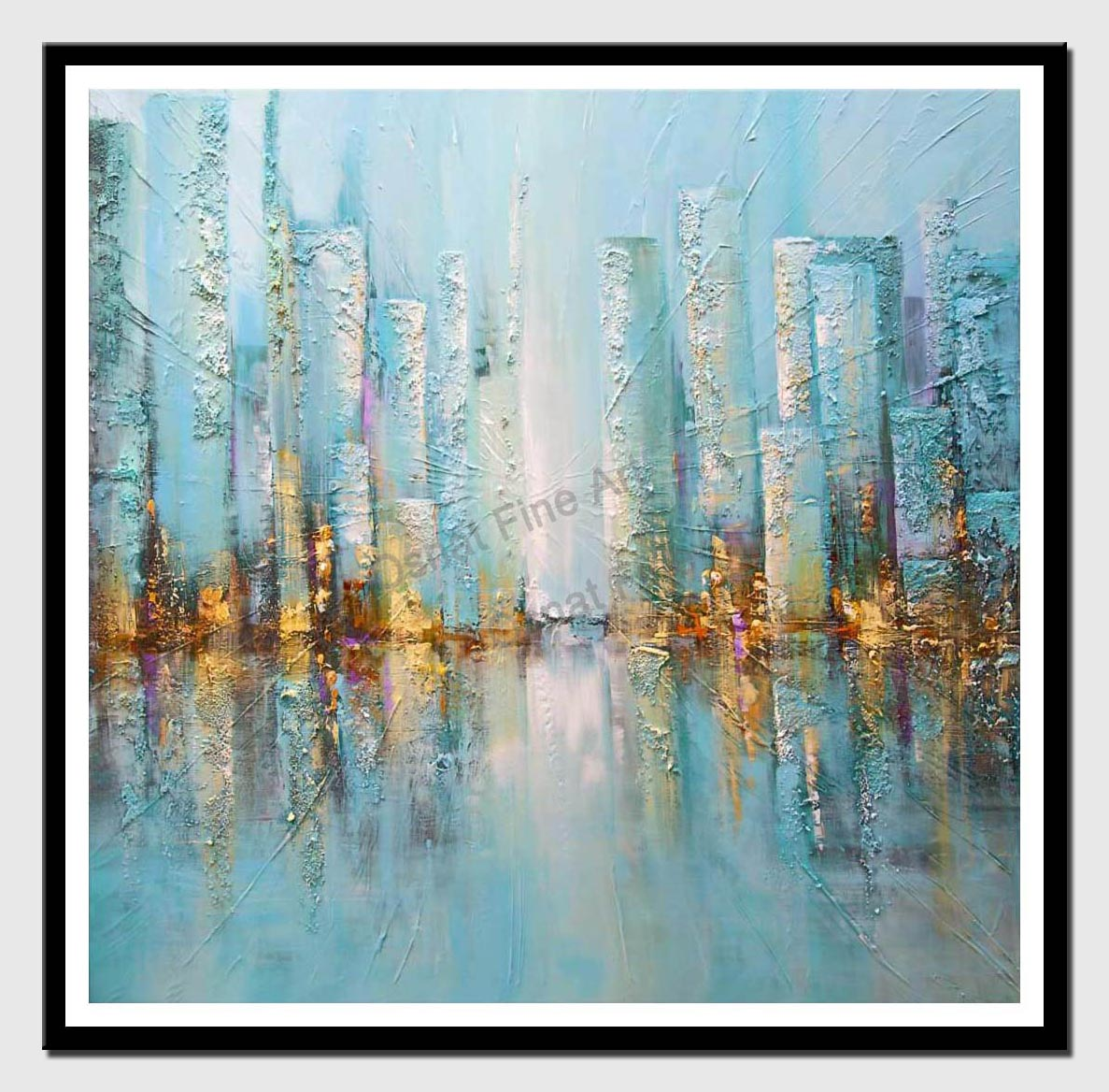 canvas print of modern blue city painting palette knife painting