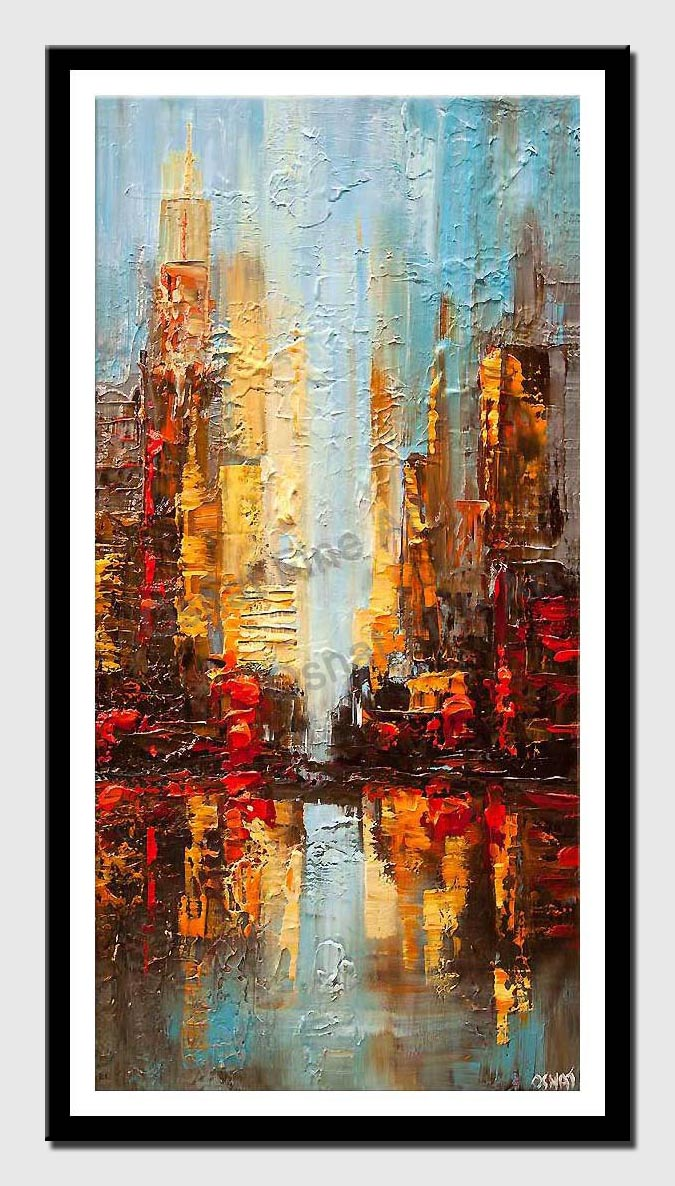 canvas print of modern palette knife abstract art city painting