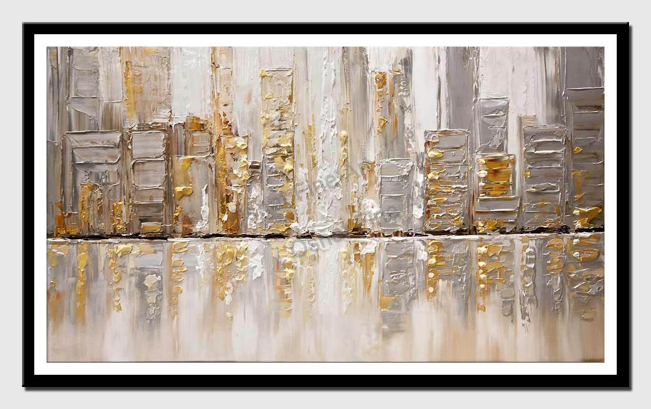 canvas print of abstract art silver city painting