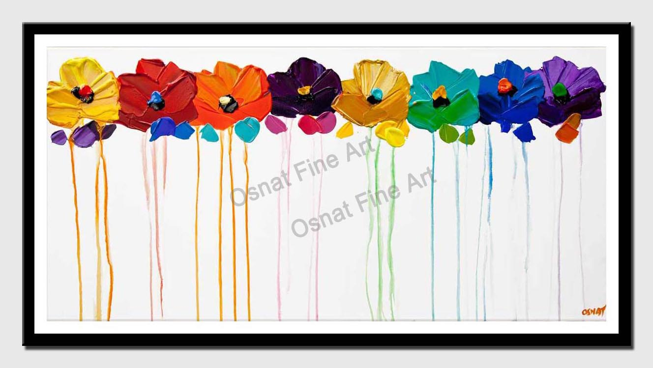 canvas print of colorful flowers  painting on white background