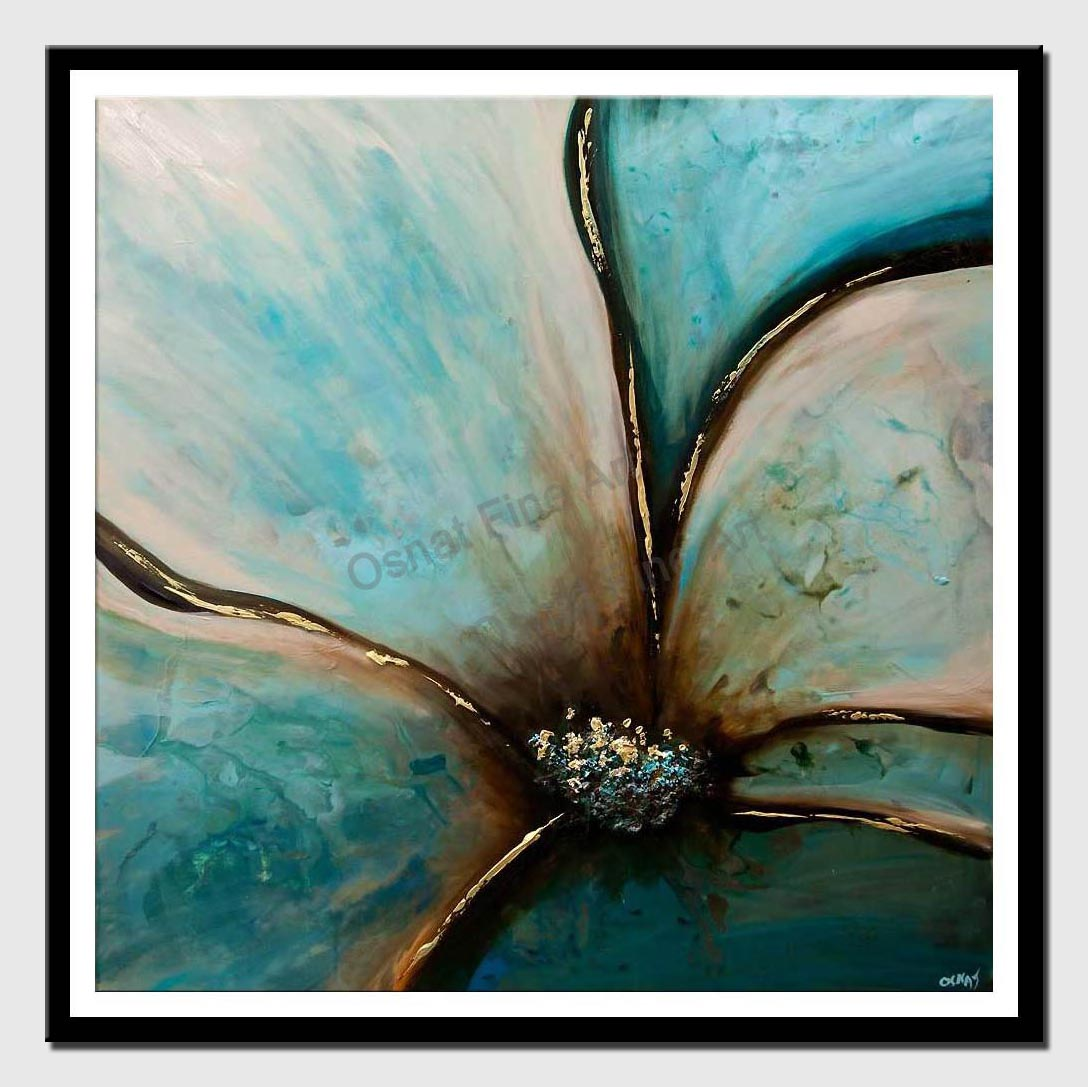 canvas print of teal flower painting textured abstract art