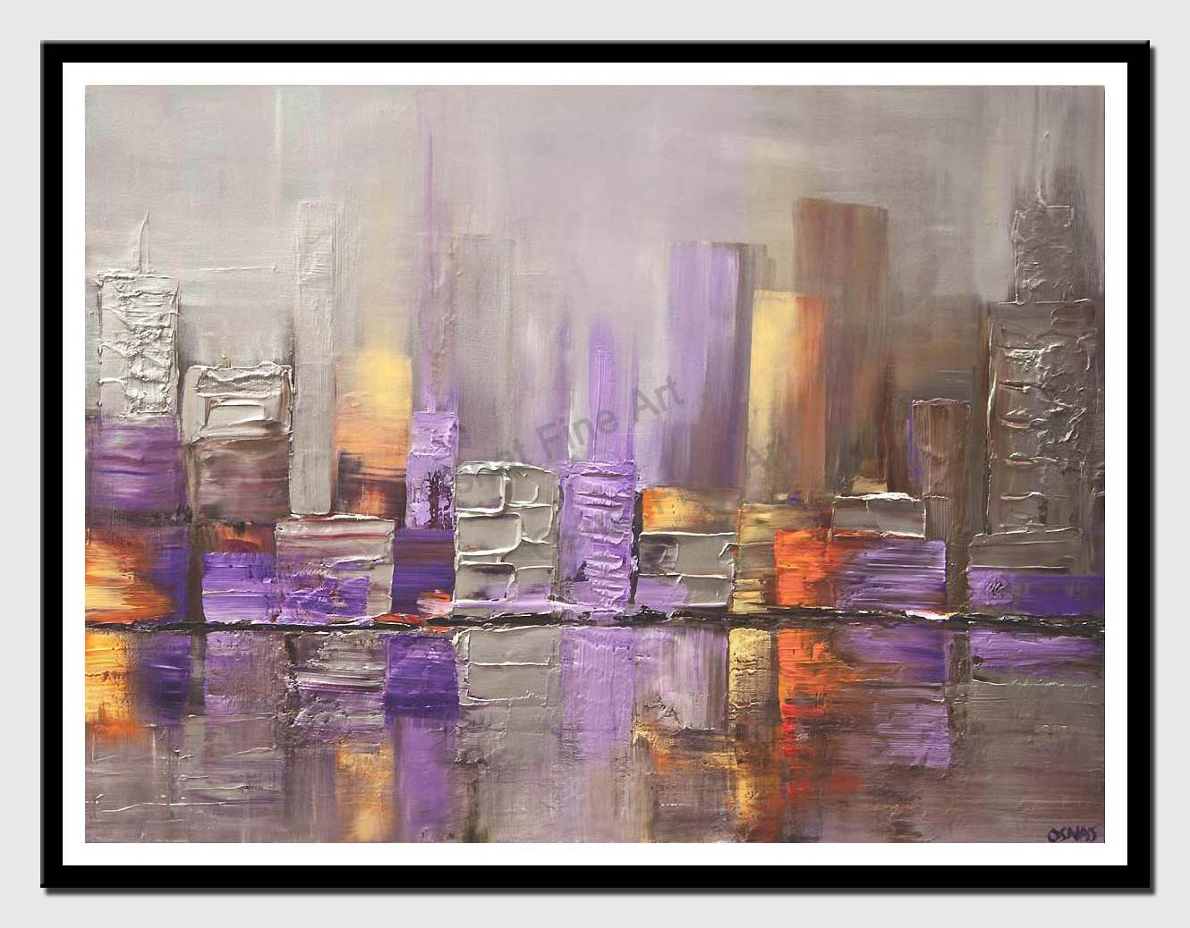 canvas print of modern silver city painting