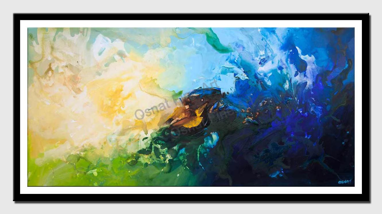 canvas print of blue green abstract art