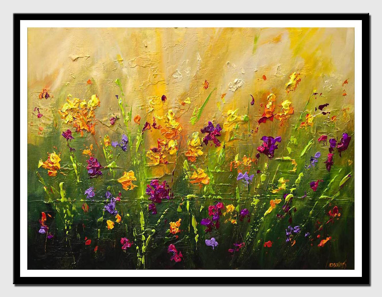 canvas print of blossom colorful flowers painting
