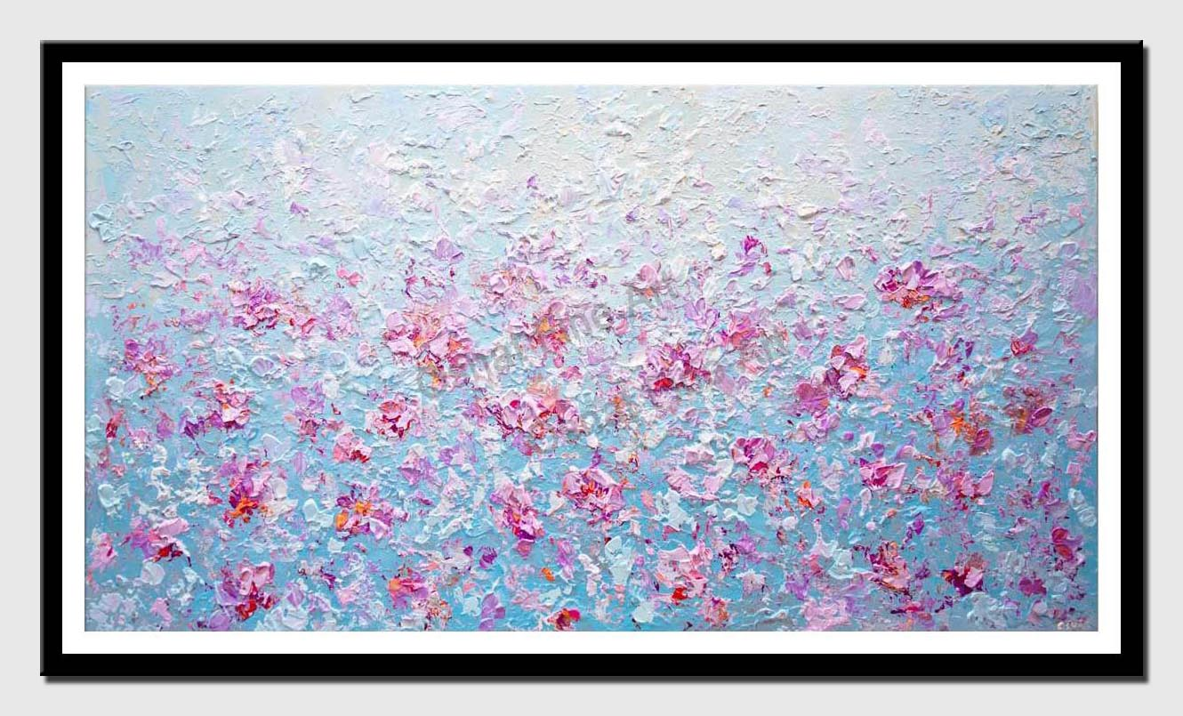 canvas print of blue modern floral painting modern palette knife painting