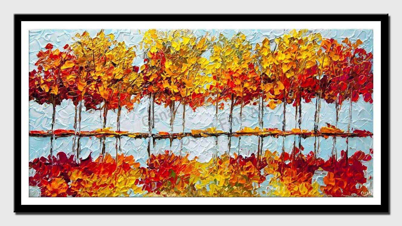 canvas print of indian summer painting modern palette knife blooming trees