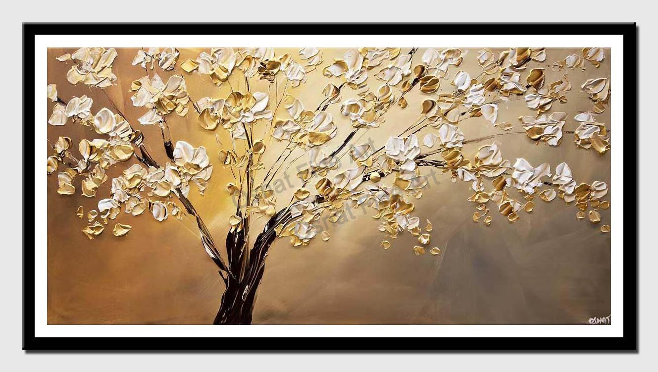 canvas print of modern-palette-knife-blooming-tree-painting