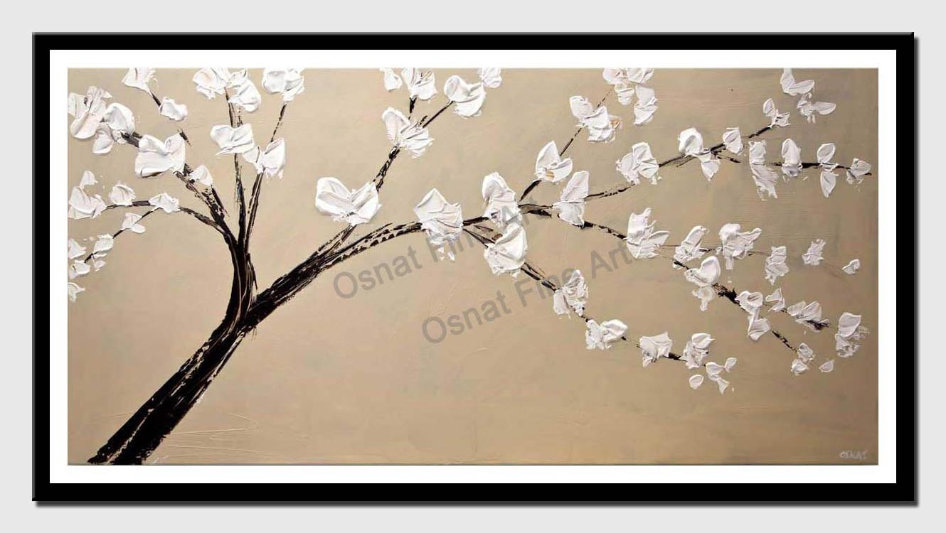 canvas print of original palette knife blooming tree painting