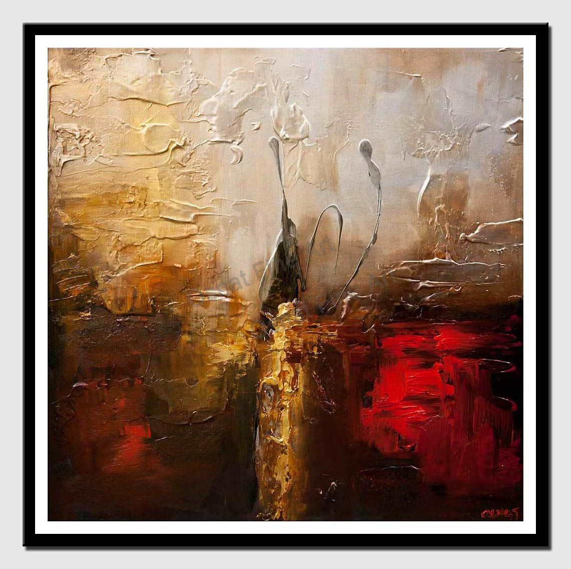 canvas print of textured golden red abstract art