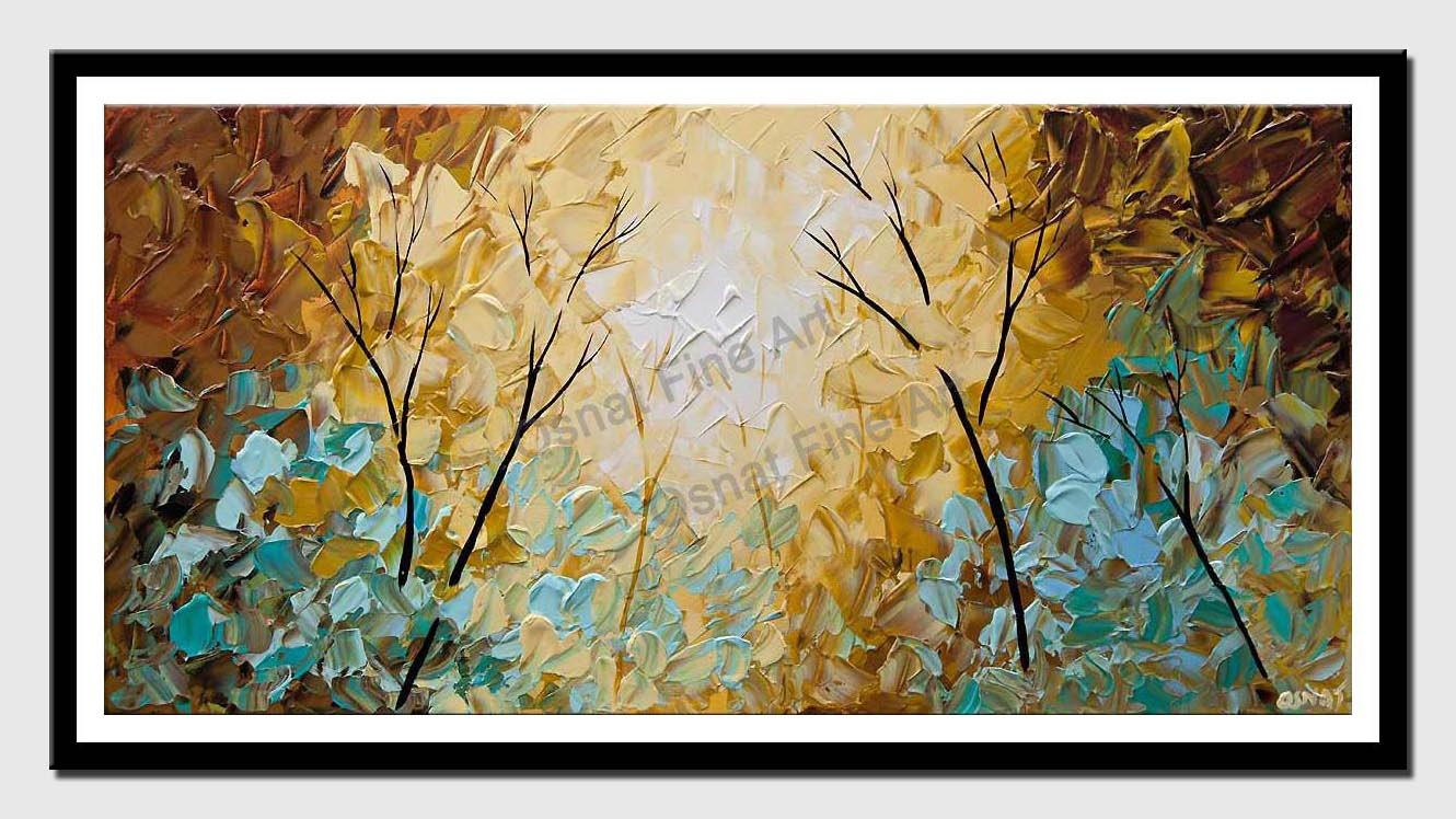 canvas print of modern textured blooming trees painting