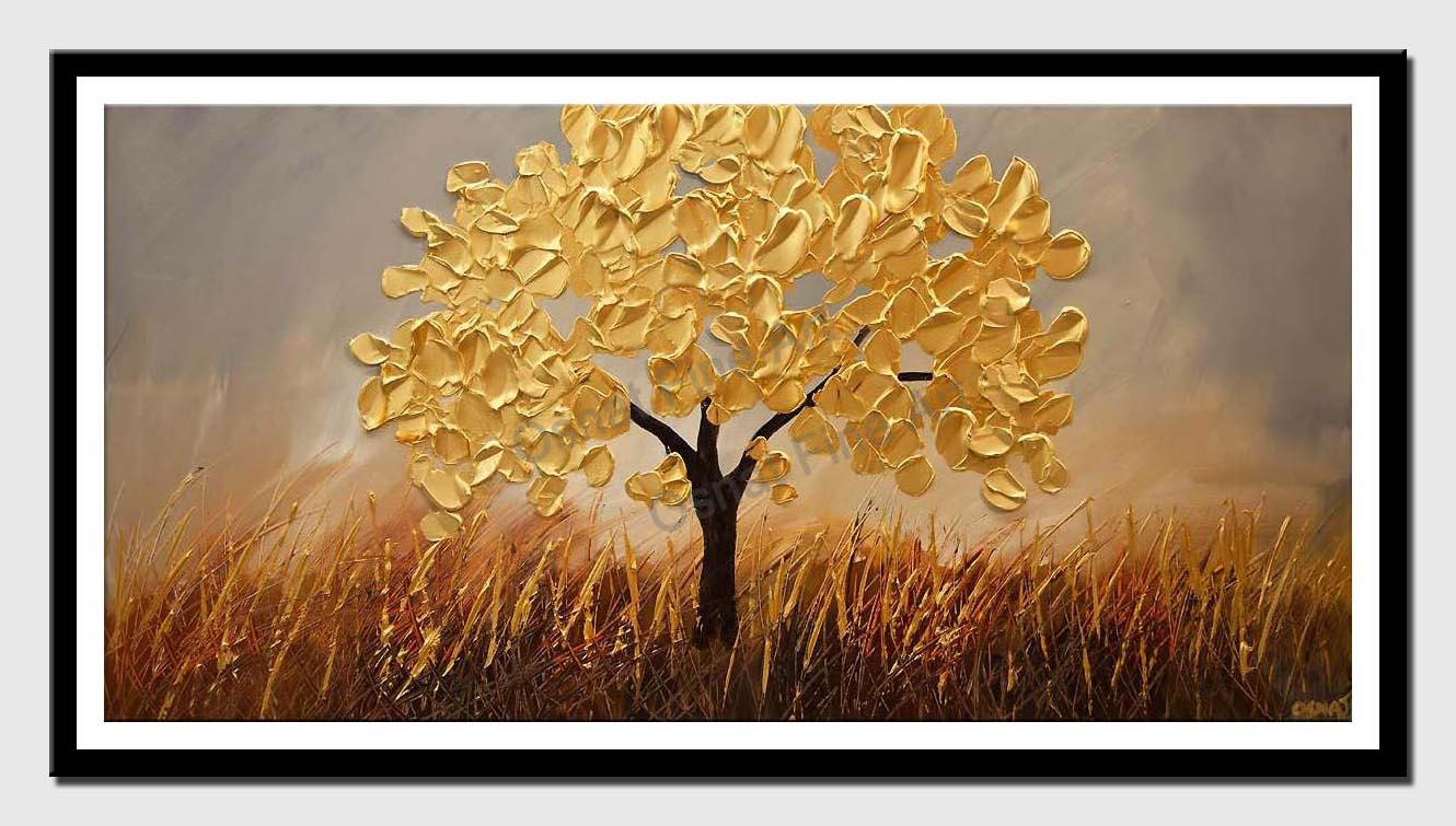 canvas print of olive tree painting gold abstract art