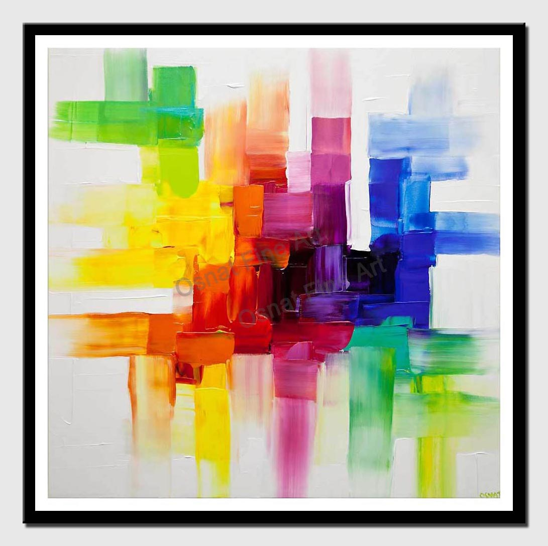 canvas print of colorful abstract art white colorful painting