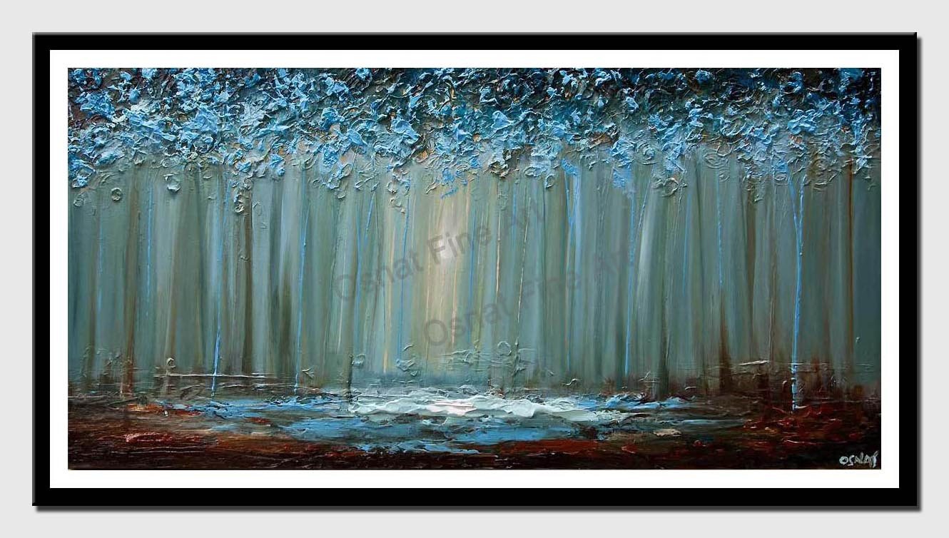 canvas print of blue forest abstract painting
