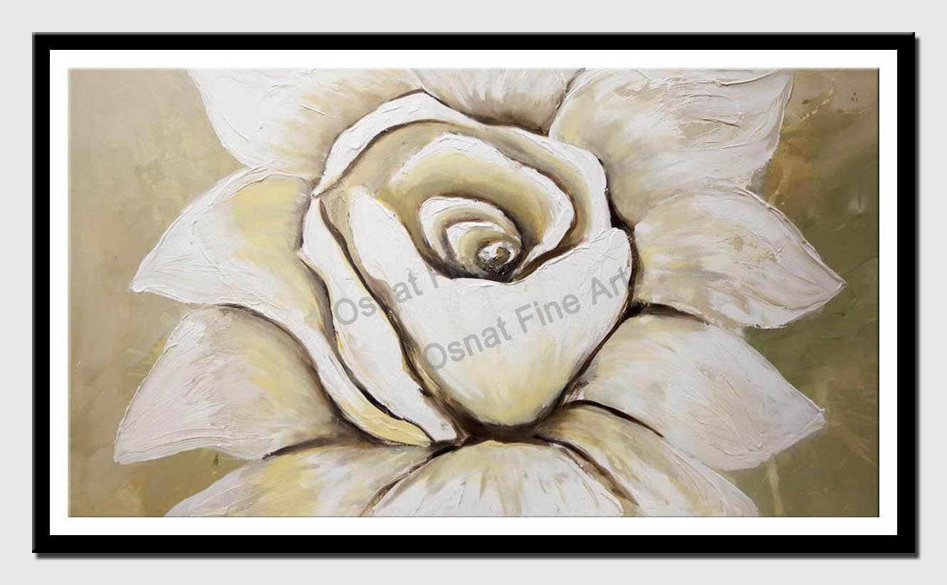 canvas print of white flower abstract painting