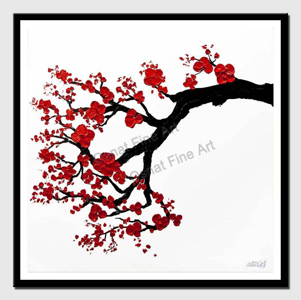 canvas print of modern textured red blossom tree painting
