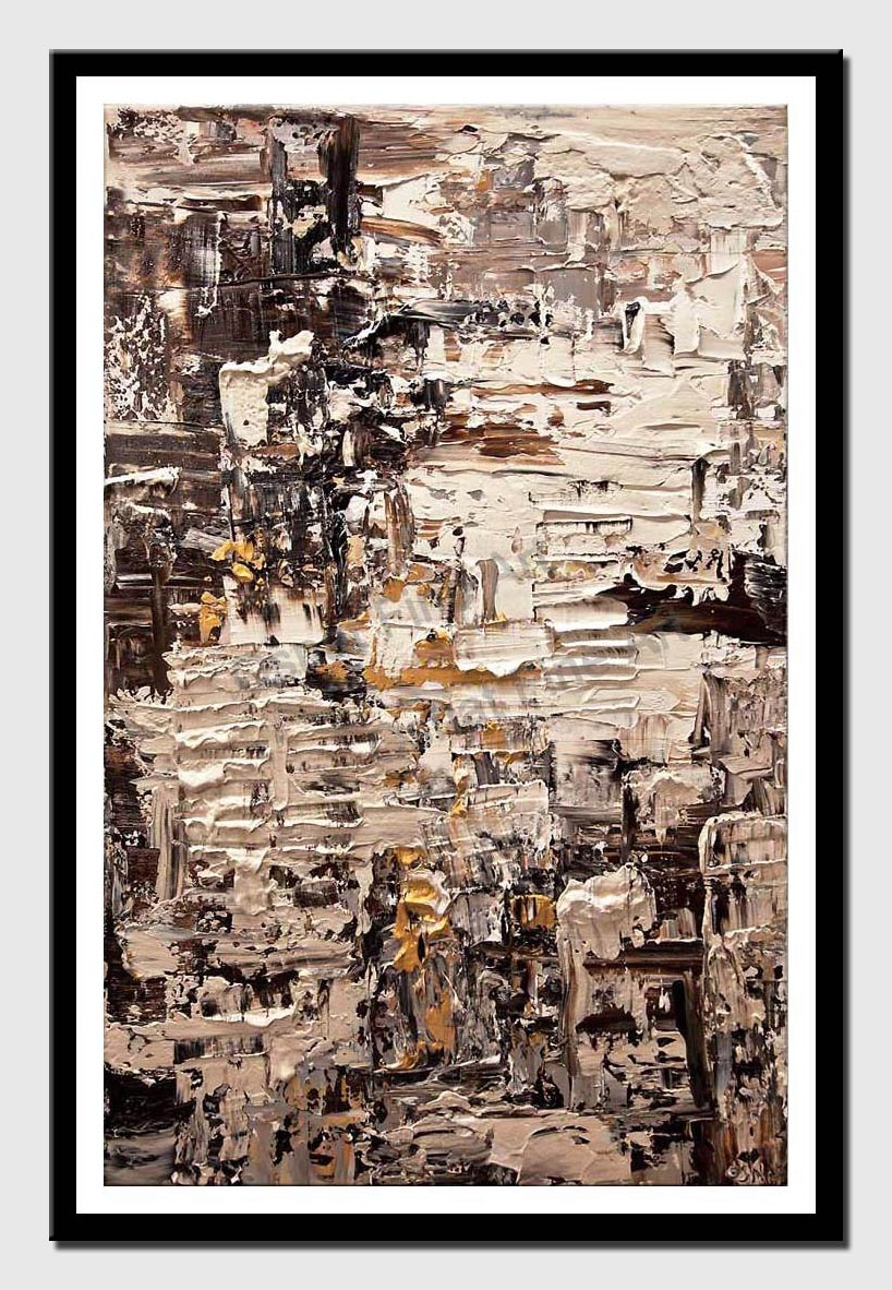 canvas print of brown cream abstract art textured painting