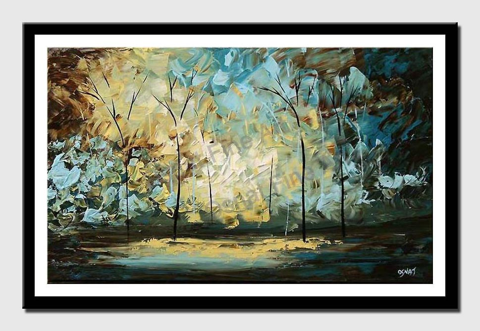 canvas print of palette knife landscape painting trees