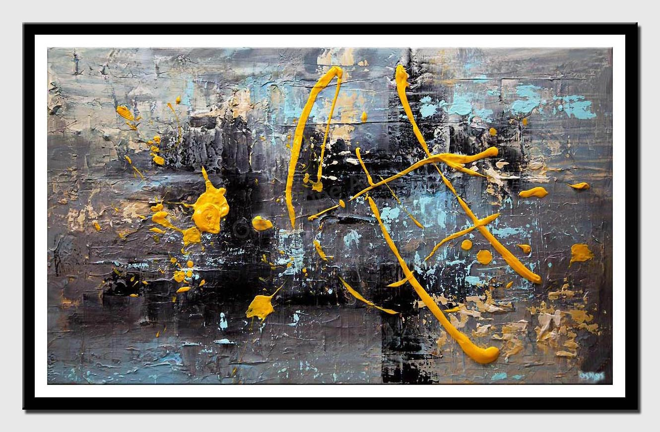 canvas print of heavy textured gray yellow abstract art