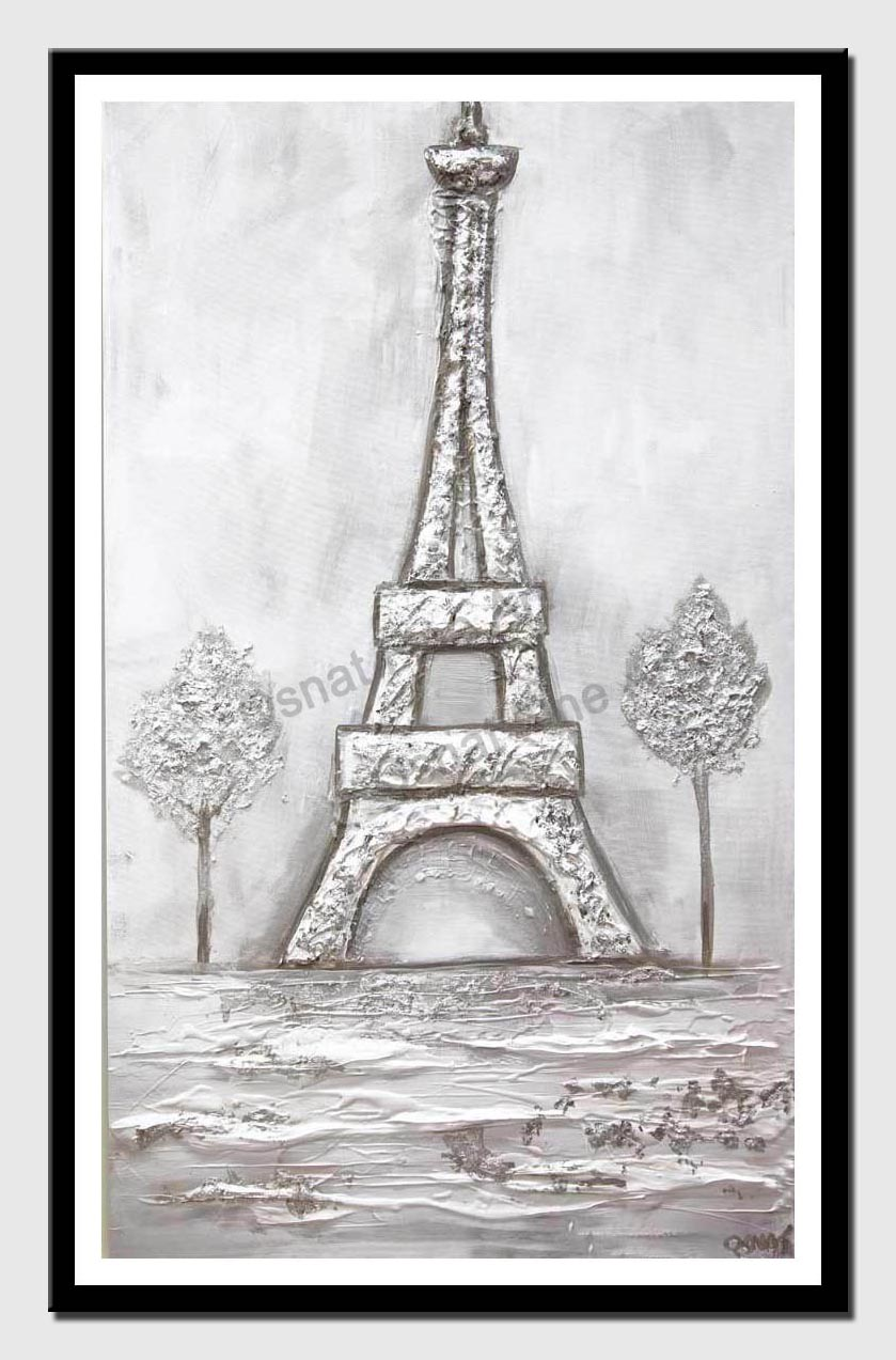 white silver Eiffel Tower abstract painting